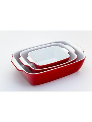 3-piece convection oven set  Rect Poaster Color Red   **طاقم فرن حراري مكون من 3 قطع لون أحمر