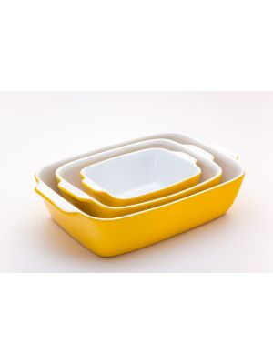 3-piece convection oven set  Rect Poaster Color Yellow**طاقم فرن حراري مكون من 3 قطع لون أصفر